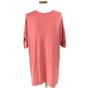 ZARA CORAL SHIFT DRESS WITH ADJUSTABLE SLEEVES